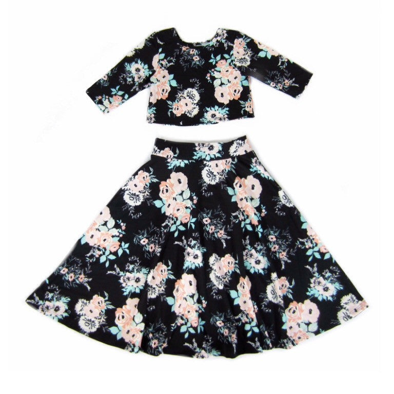 Girls Floral Crop Top and Skirt Set