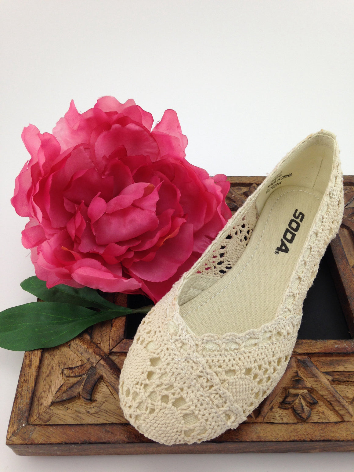 Girls Ivory Crochet Flats