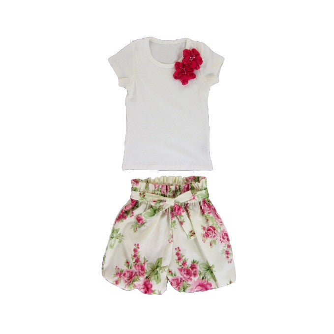 Girls Rose Bubble Shorts and Top Set