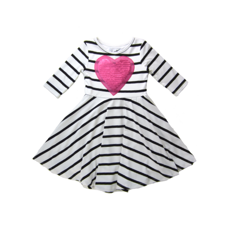 Girls Pink Heart Twirl Dress