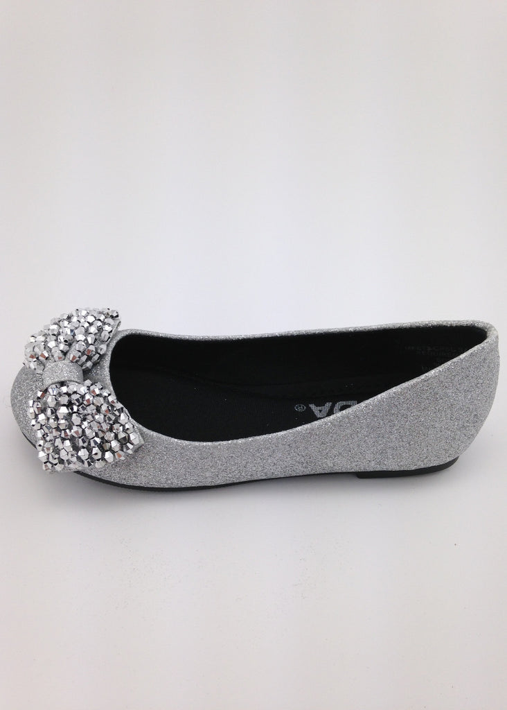 Girls Silver Beaded Bow Flats