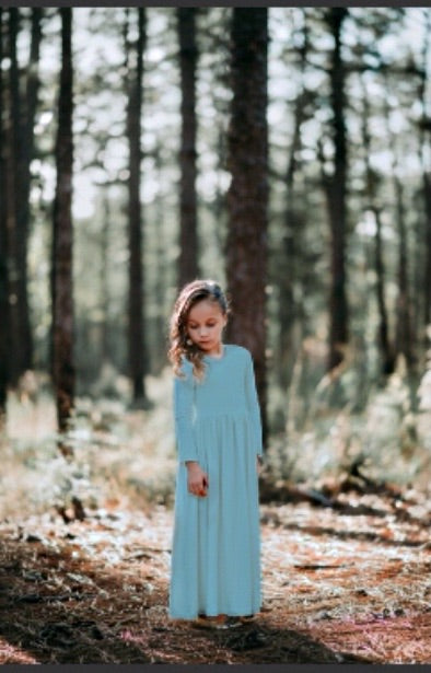 Girls Aqua Sky Maxi Dress
