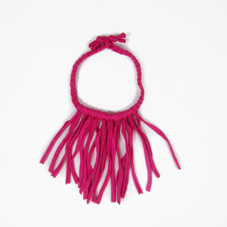 Girls Hot Pink Fringe Necklace