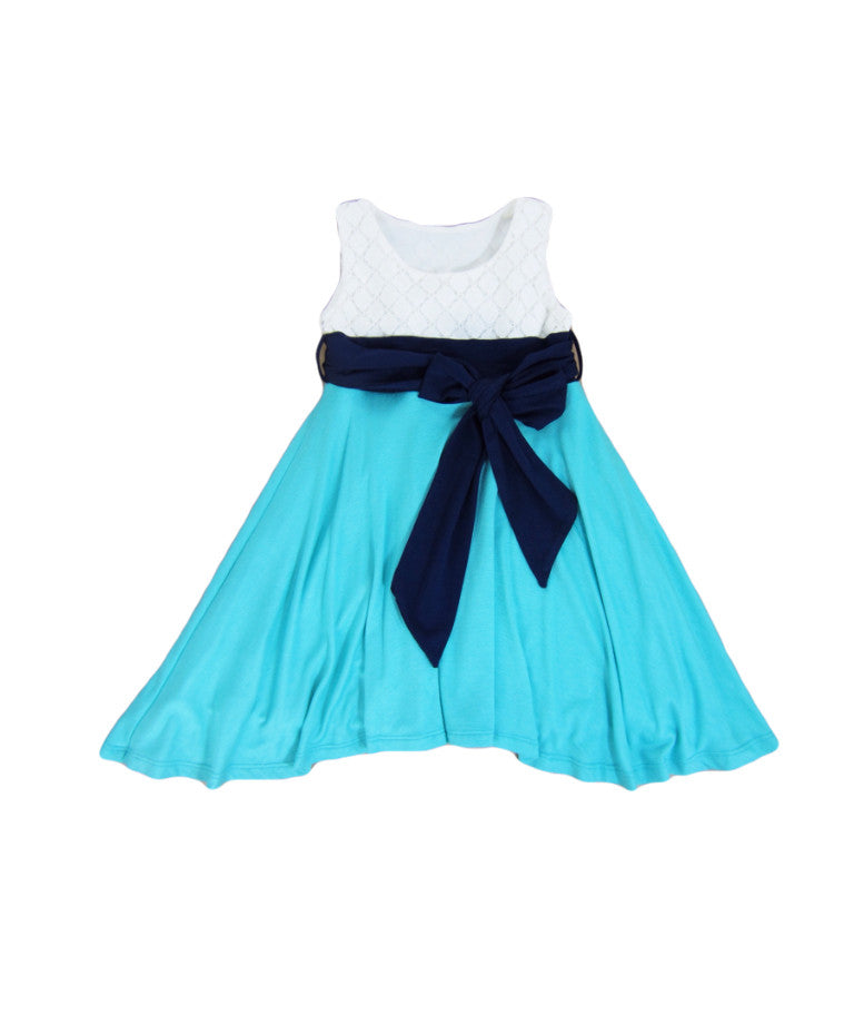 Girls Tricolor Teal Twirl Dress