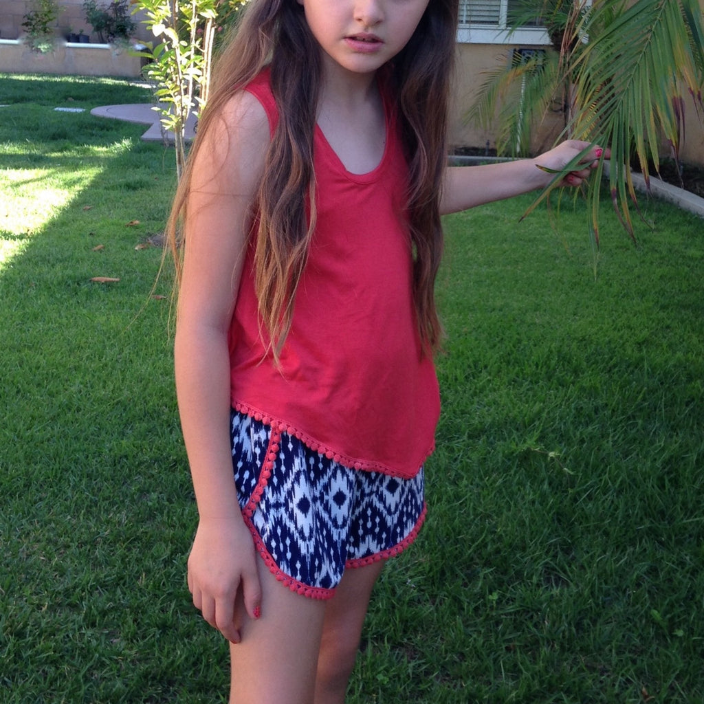 Girls Navy Ikat Shorts