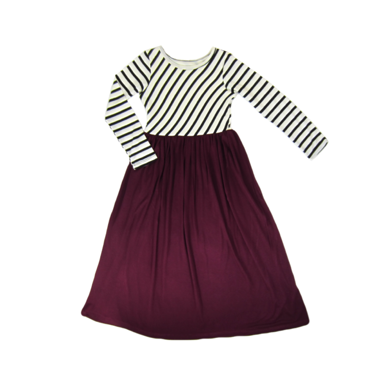 Girls Burgundy Striped Maxi Dress - Liberty Lark