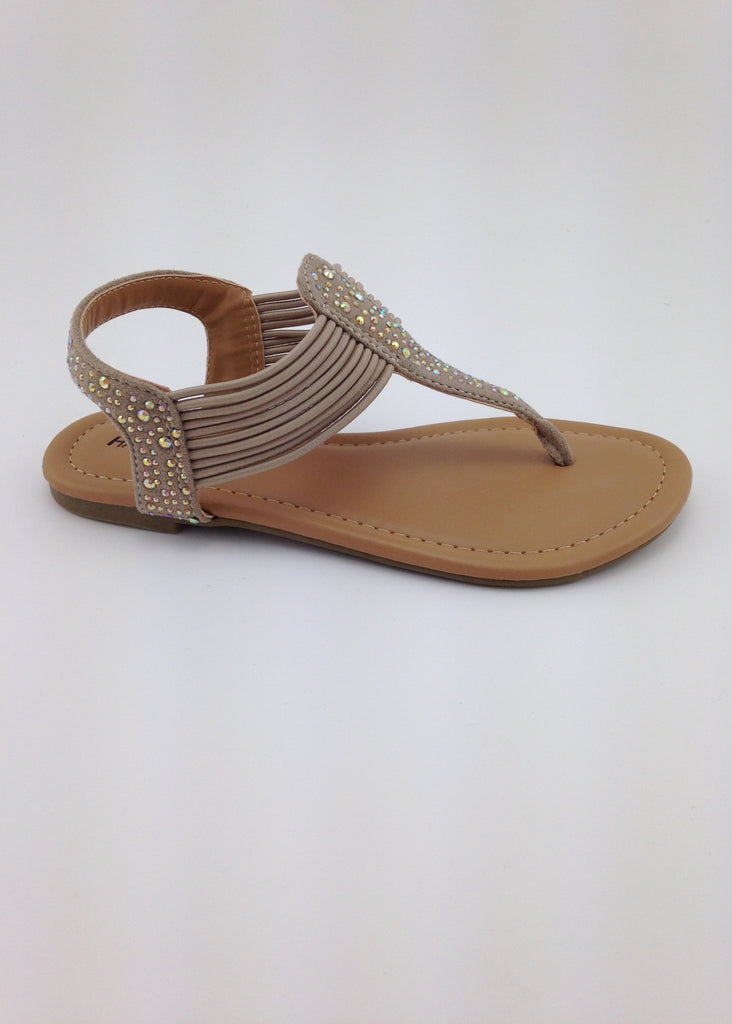 Girls Taupe T-Strap Sandals