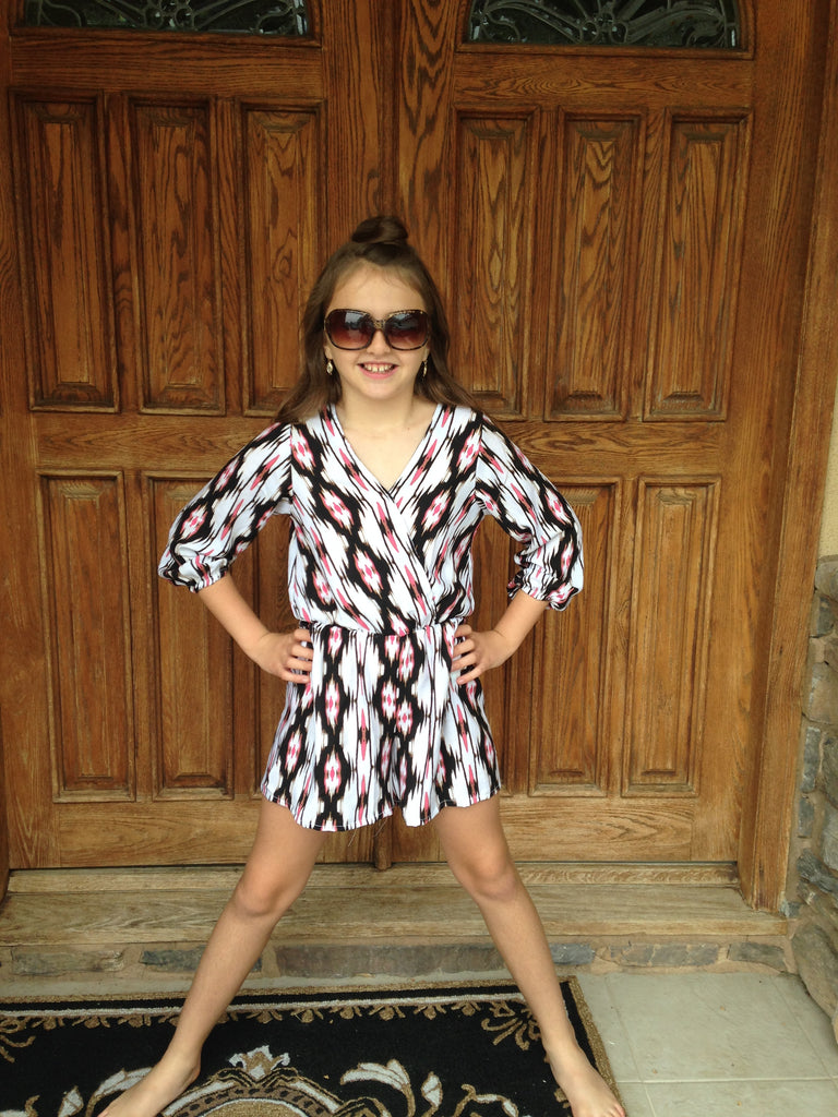 Girls Tribal Surplice Romper
