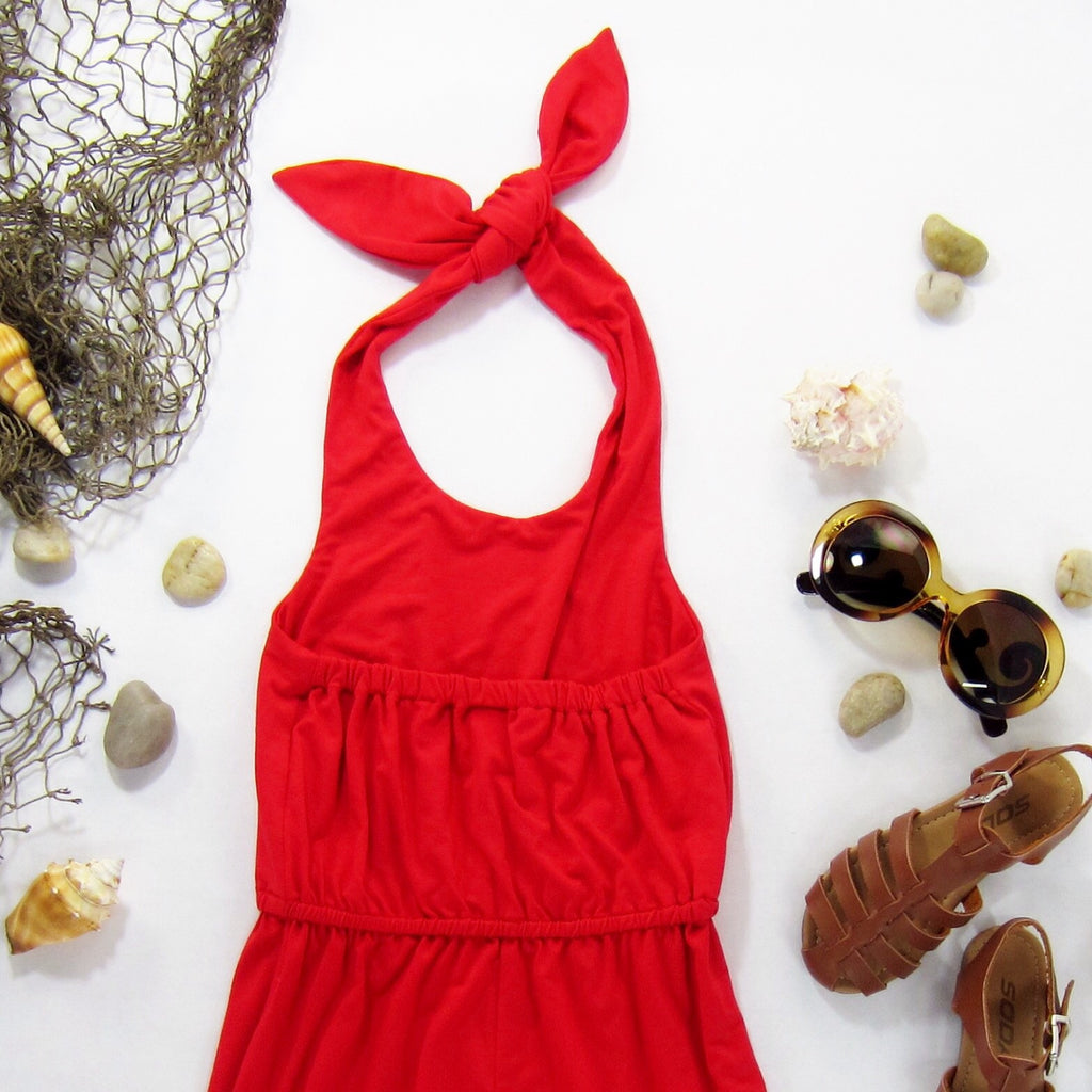 Girls Red Coral Halter Romper