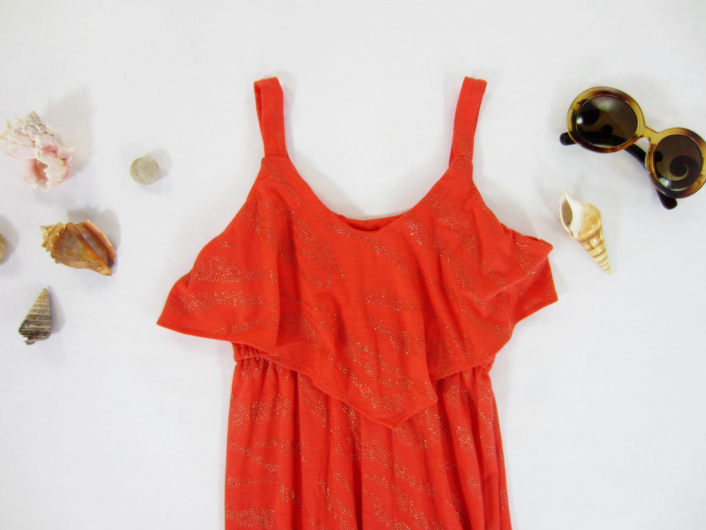 Coral Flounce Dress