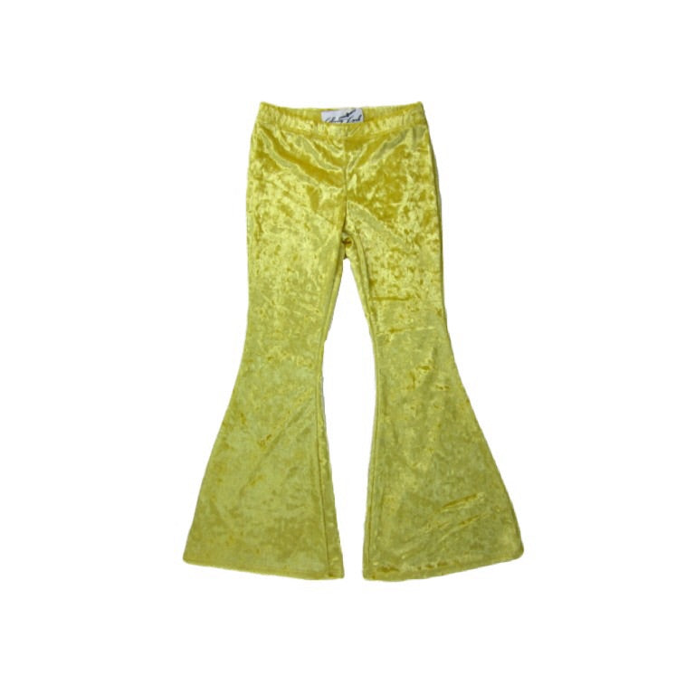 Girls Yellow Velvet Bell Bottoms