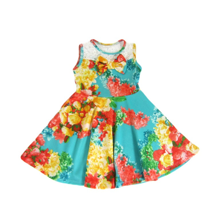Girls Teal Floral Dress