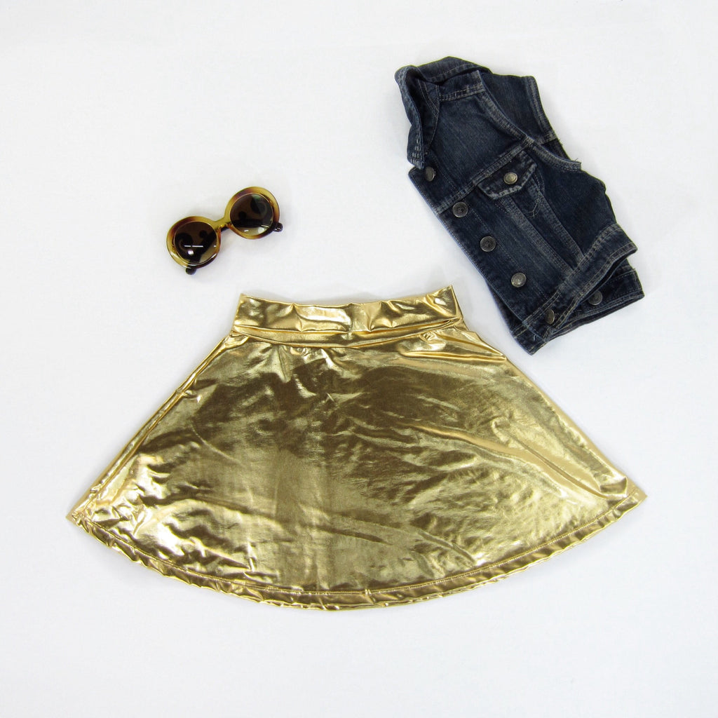 Girls Gold Skater Skirt - Liberty Lark