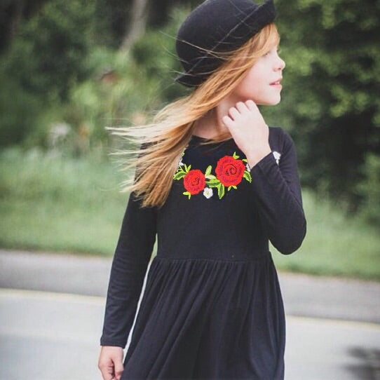 Girls Black Maxi Dress with Embroidered Flower Appliqué