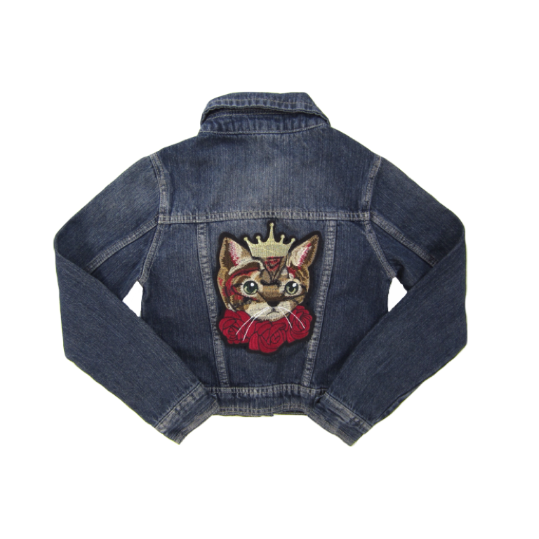 Girls Cat Denim Jacket