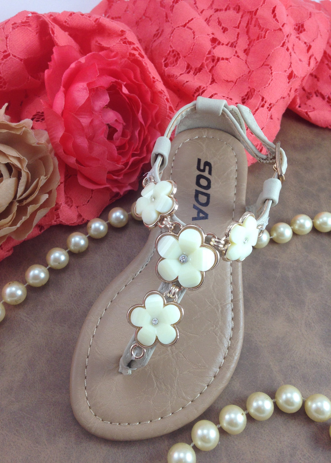 Girls Cream Flower Sandals
