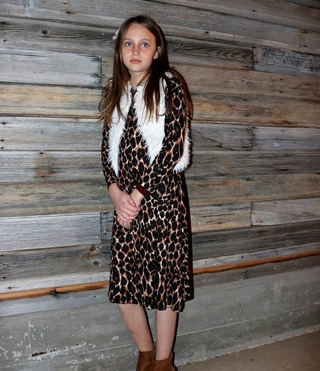Girls Leopard Swing Dress