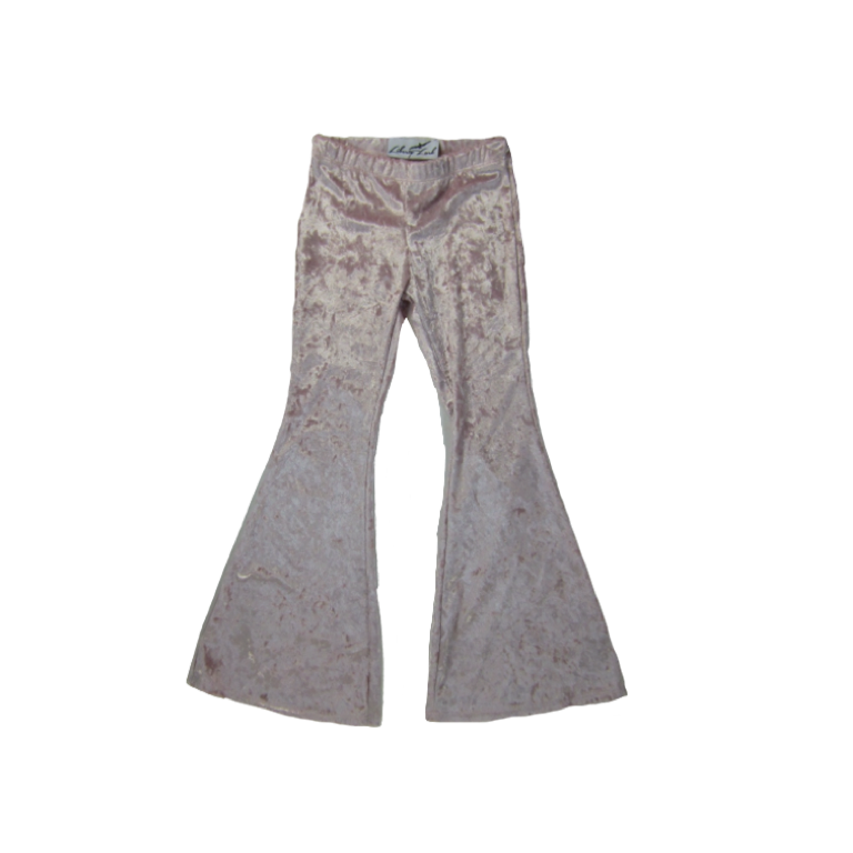 Girls Pink Velvet Bell Bottoms