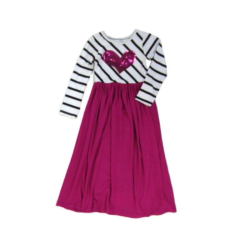 Girls Pink Heart Maxi Dress