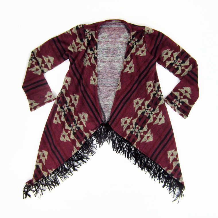 Girls Geometric Fringe Trim Cardigan
