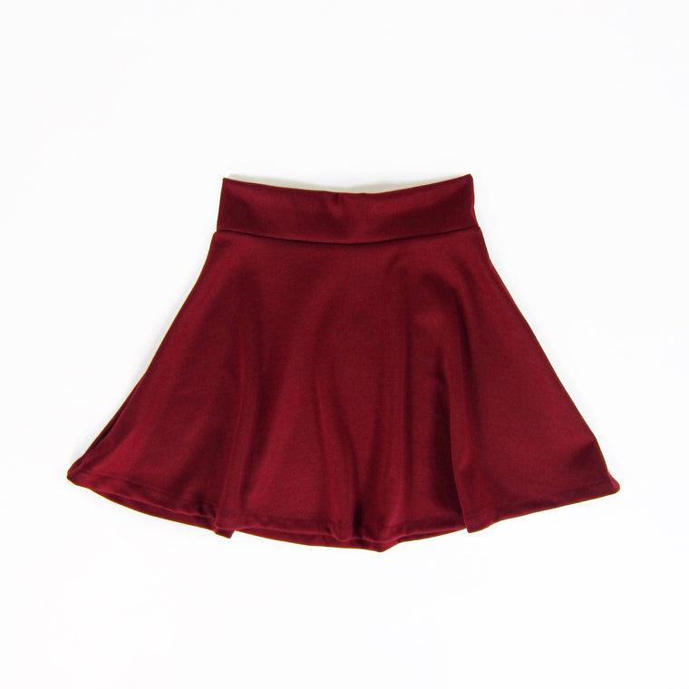 Girls Burgundy Skater Skirt