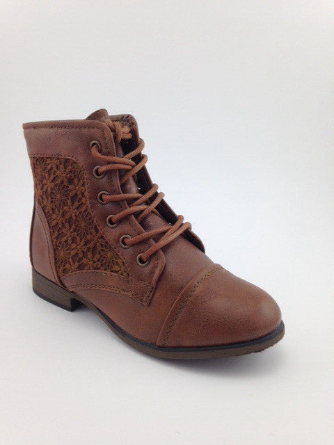 Girls Tan Ankle Lace Up Boots