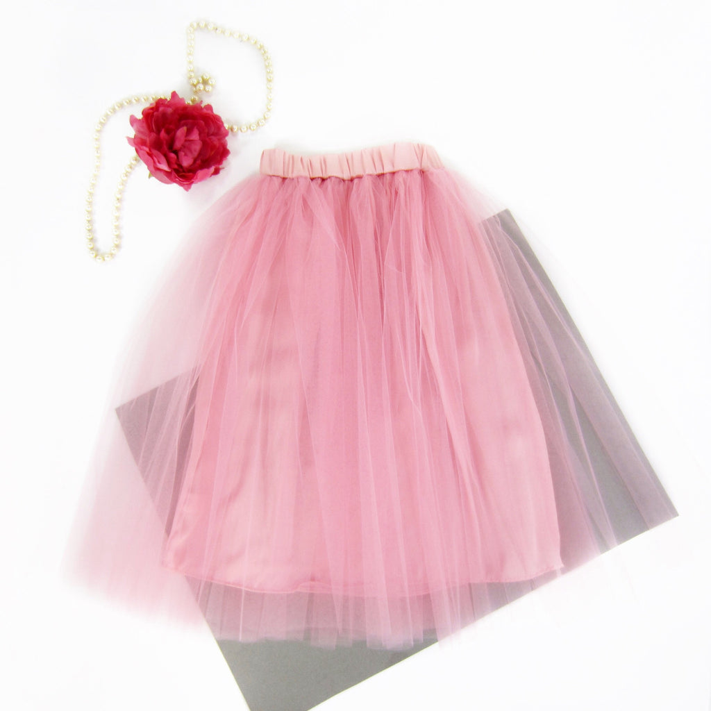 Girls Dusty Rose Tulle Midi Skirt - Liberty Lark
