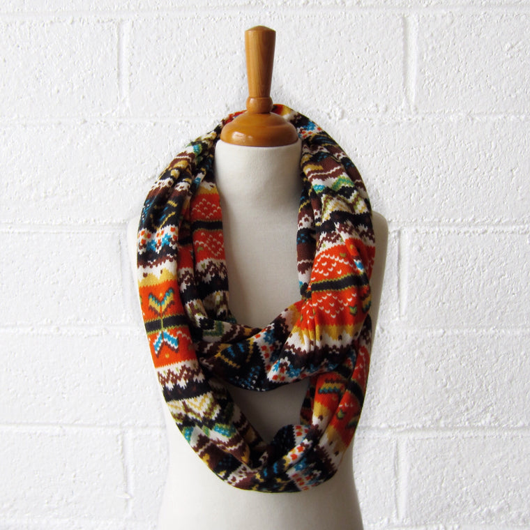 Orange Fair Isle Infinty Scarf