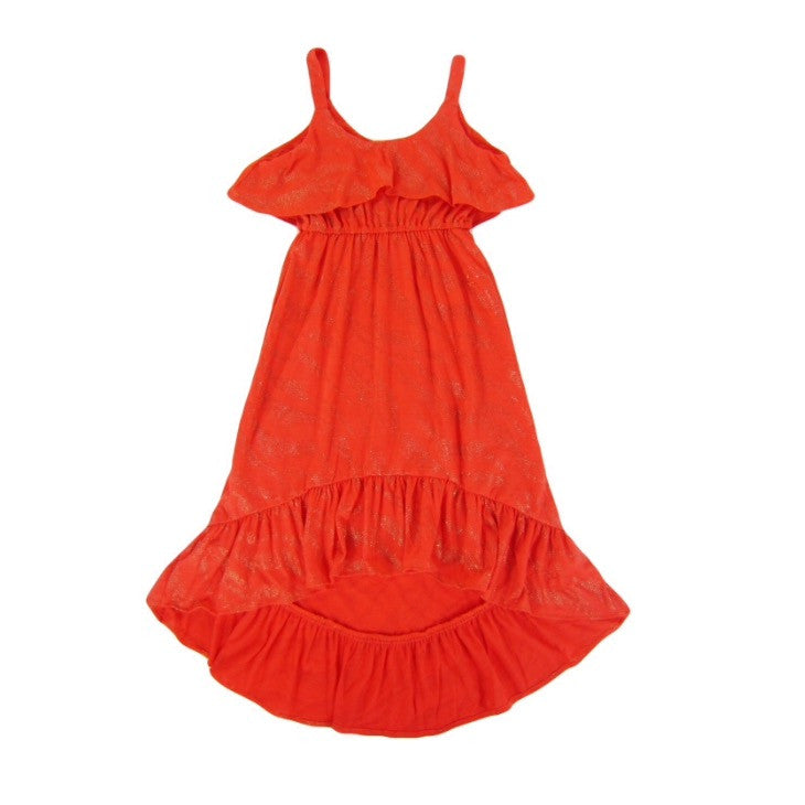 Girls Coral Flounce Maxi Dress