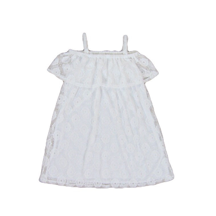 Girls White Off the Shoulder Lace Dress
