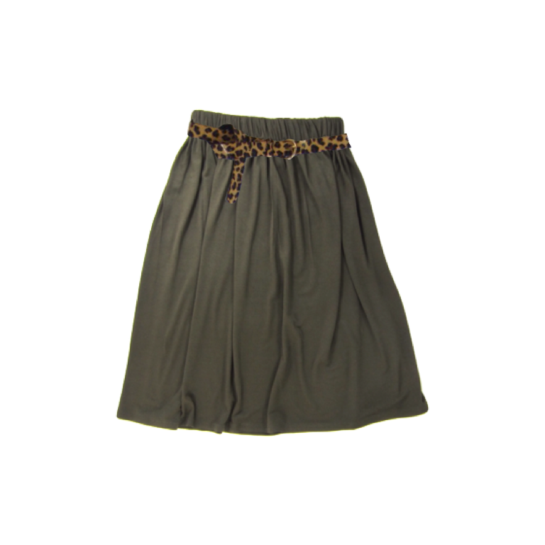 Girls Olive Green Maxi Skirt
