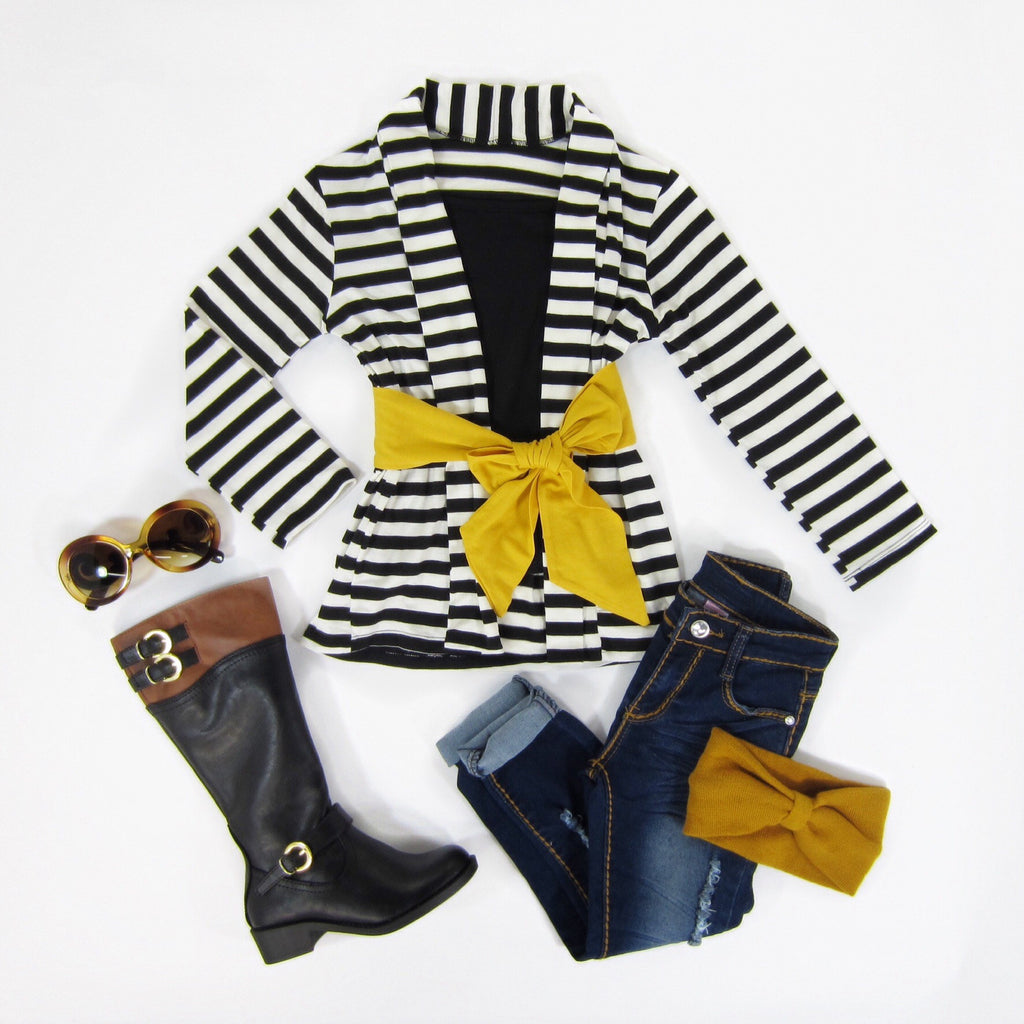 Girls Mustard Sash Striped Cardigan