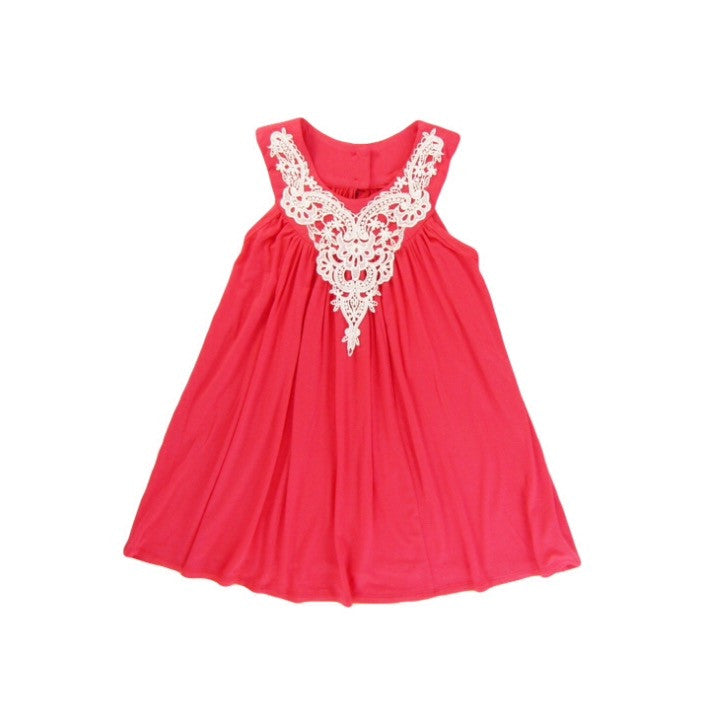 Girls Ivory Applique Coral Dress