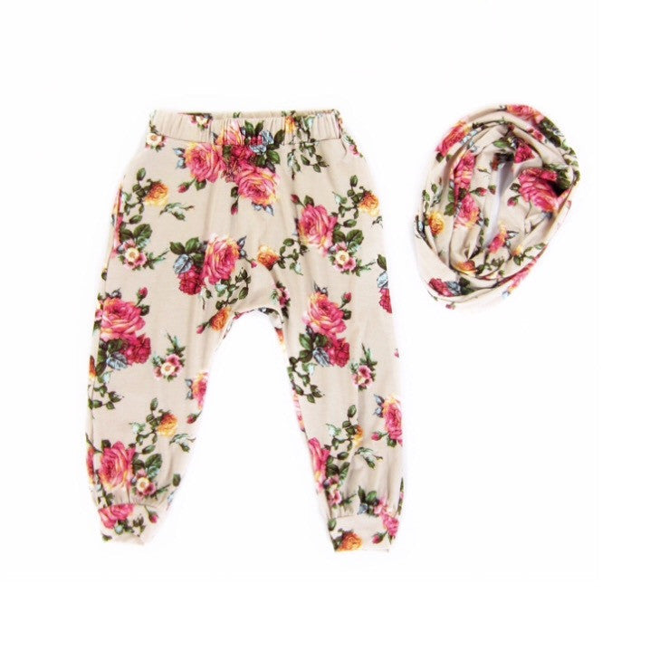 Girls Floral Harem Pants and Scarf Set