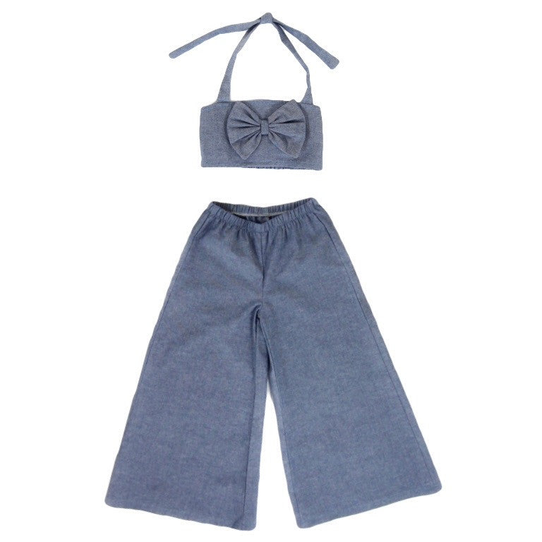 Girls Chambray Crop Top and Gaucho Pants