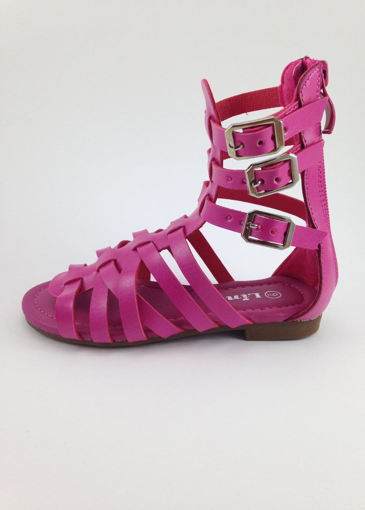 Girls Pink Gladiator Sandals