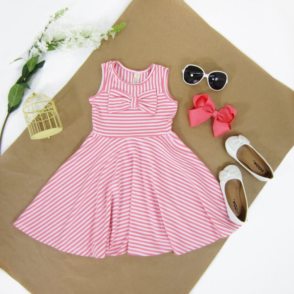 Girls Striped Coral Dress - Liberty Lark