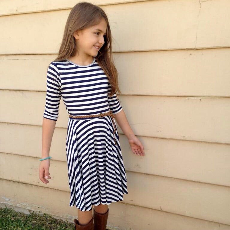 Girls Navy Striped Twirl Dress