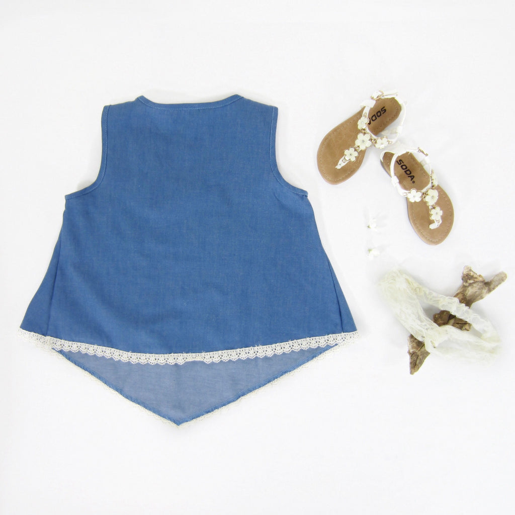 Girls Lace Trim Chambray Top
