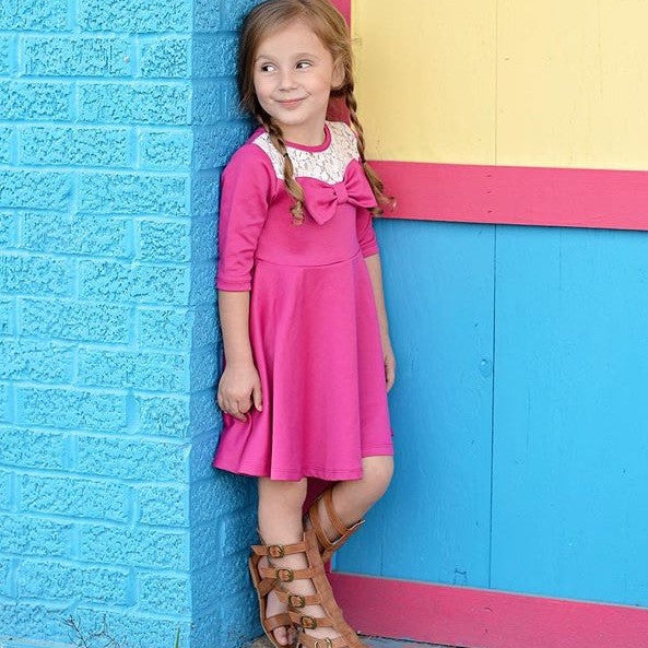 Girls Hot Pink Bow Dress