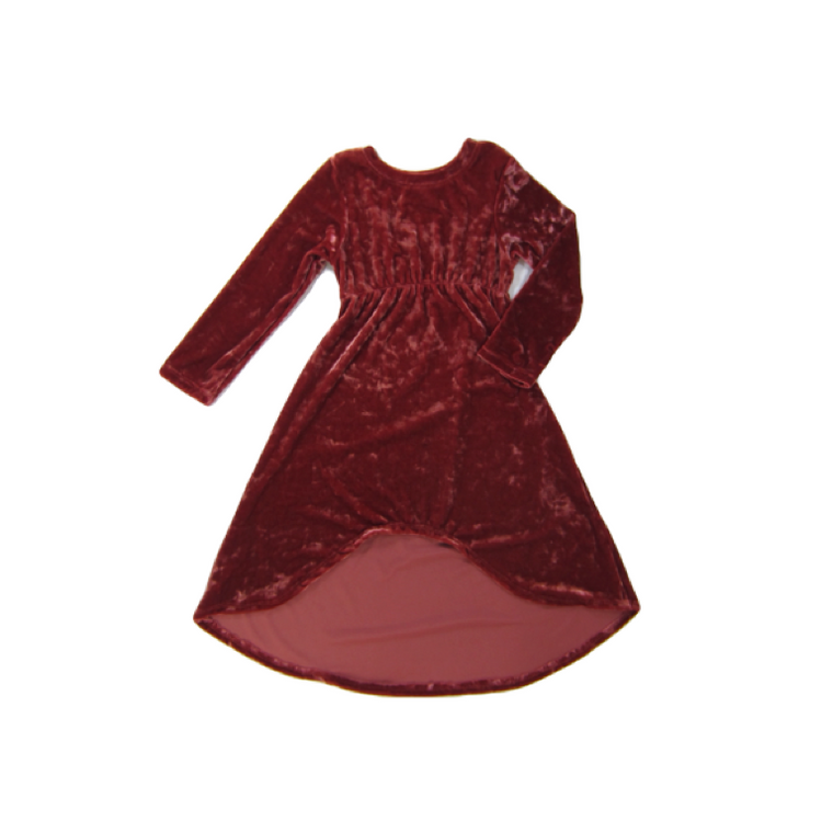 Girls Rust Crushed Velvet Dress