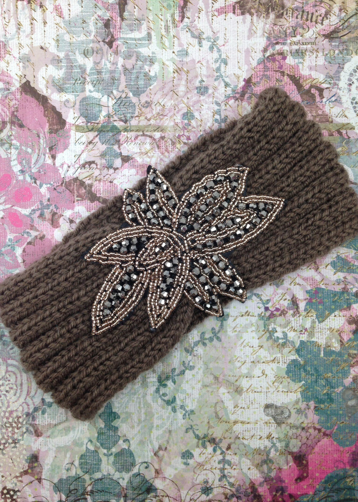 Taupe Embellished Knit Headband