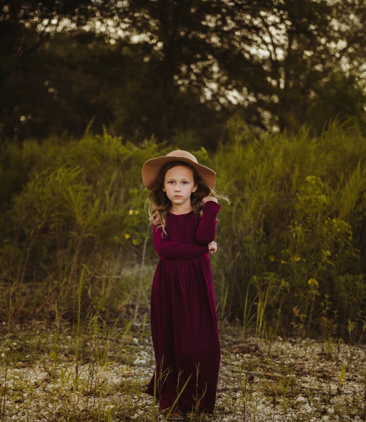 Girls Burgundy Maxi Dress