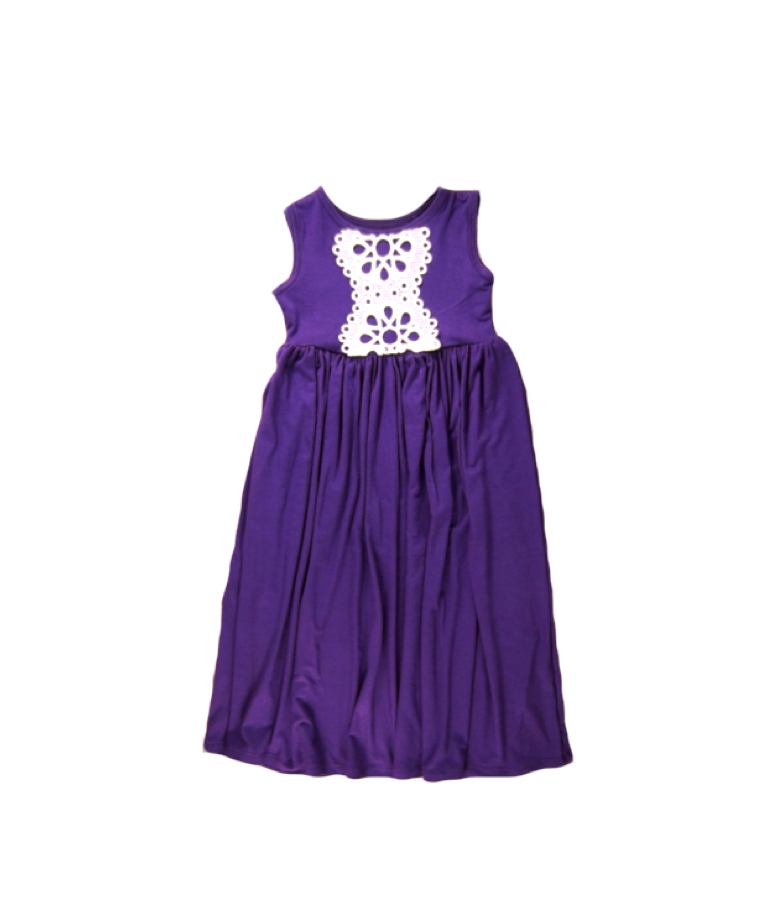 Girls Purple Sleeveless Maxi Dress