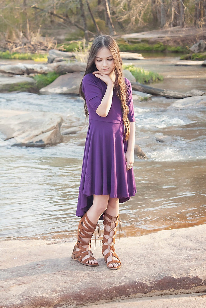 Girls Hi-Lo Purple Dress