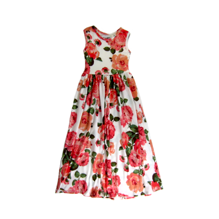 Girls Coral Bloom Maxi Dress