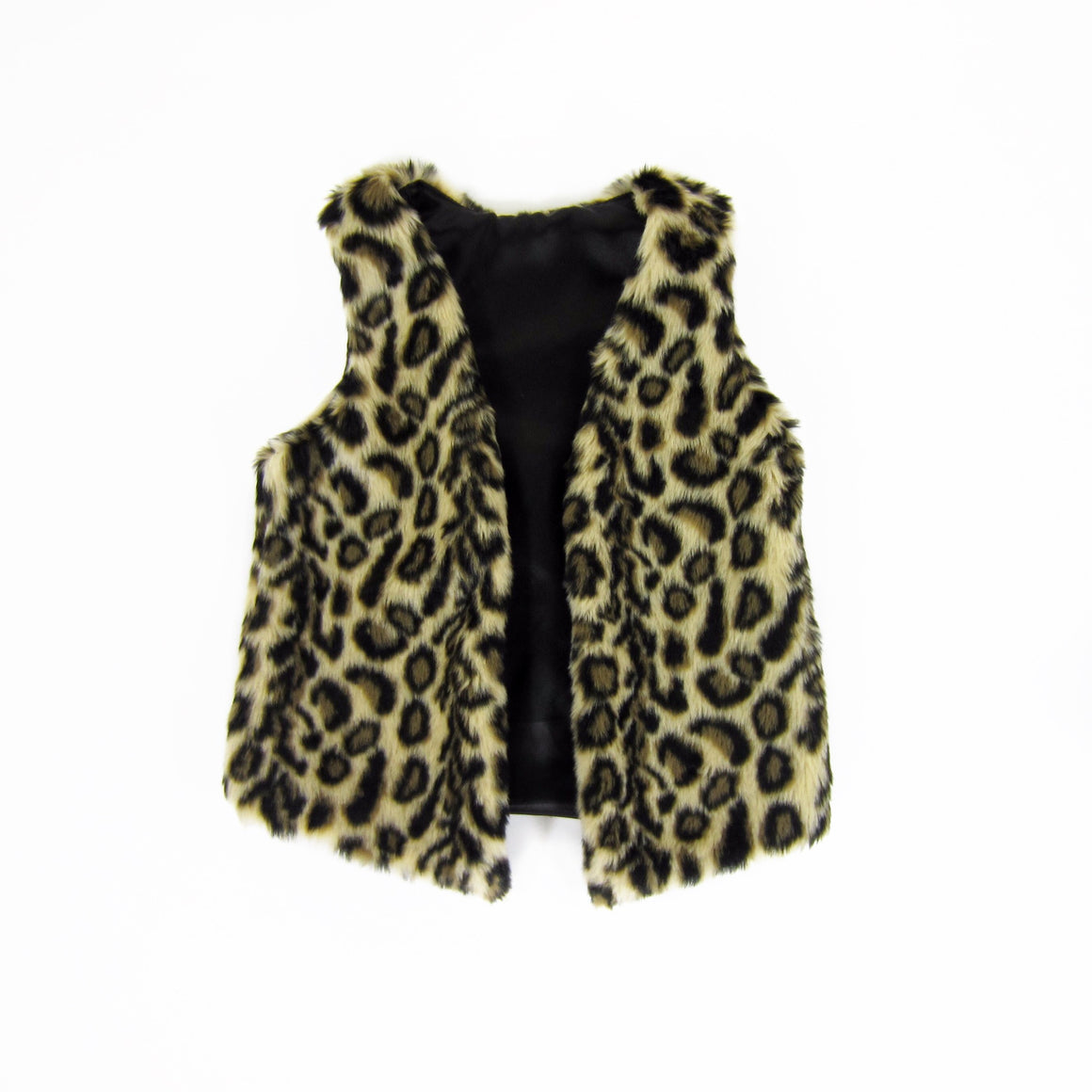Girls Leopard Faux Fur Vest