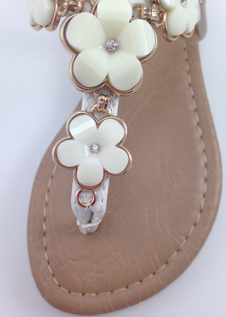 Girls White T-Strap Flower Sandals