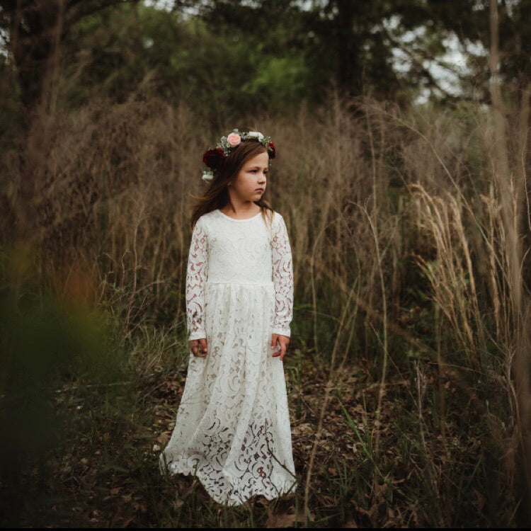 Girls Ivory Lace Maxi Dress