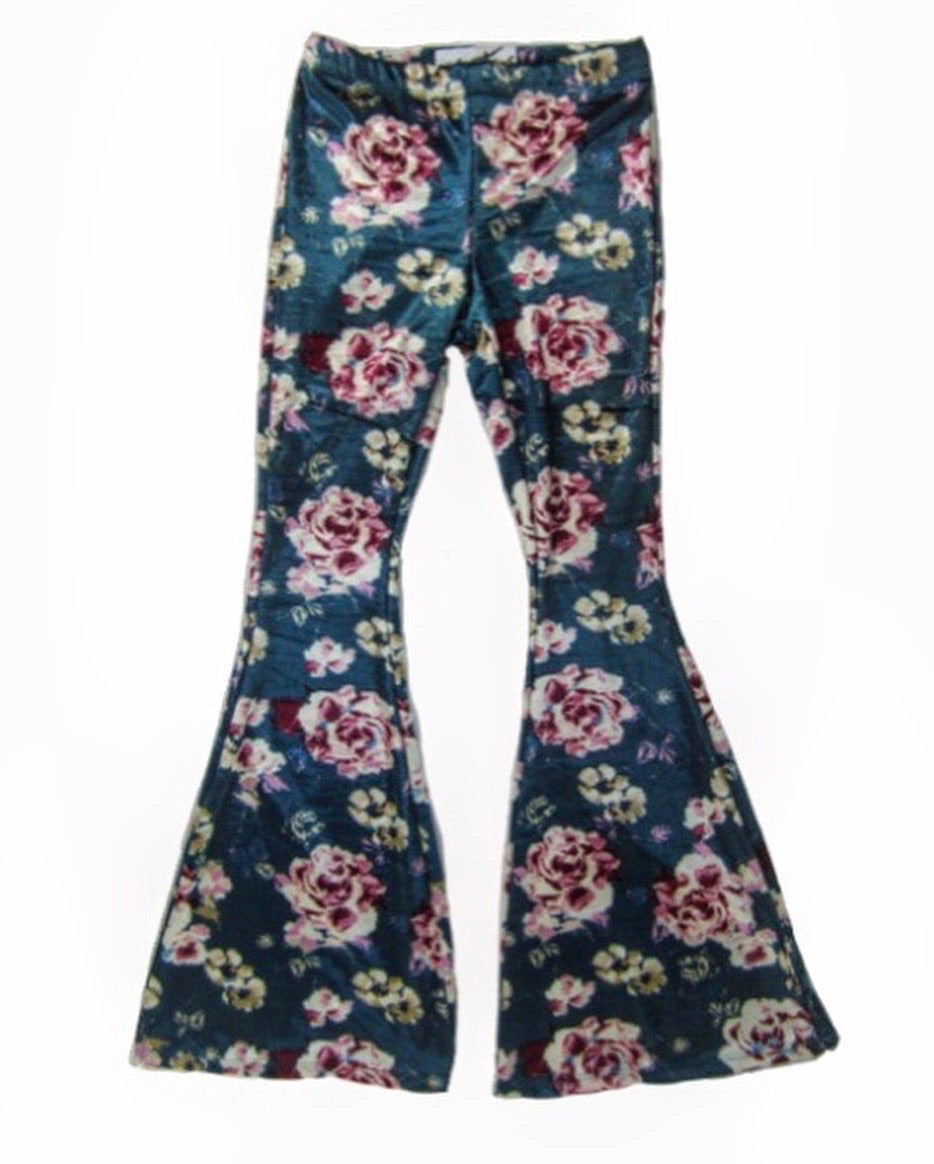 Girls Teal Floral Velvet Bell Bottoms - Pants